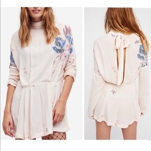 FREE PEOPLE Gemma Floral Tunic Dress Bow Back NWOT